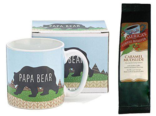 Papa Bear Mug with Caramel Mudslide Coffee Gift Set (2 Items)