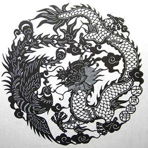 JAPANESE       切り絵店 燕京/ 龍団図(黒)Cut ethane/ethylene  Yanjing / Ryu-dan Diagram (black)