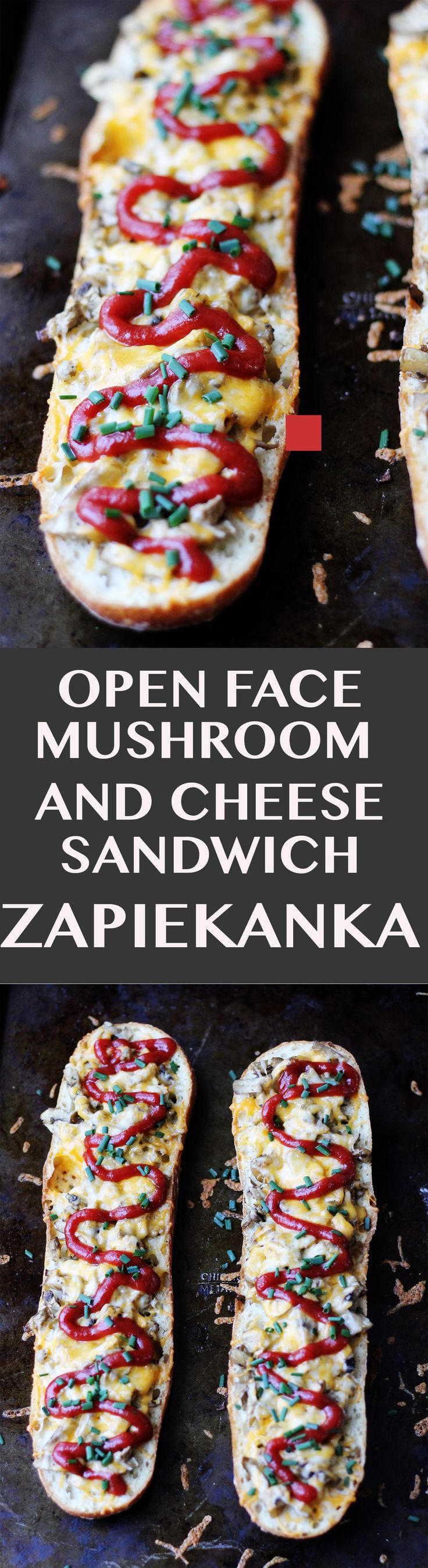 Open Face Mushroom and Cheese Sandwich – famous Polish street food called Zapiekanka or Zapiekanki in plural. You can find them on every corner in Poland.