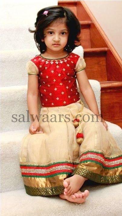 Small Baby Cream Net Tissue Skirt | Indian Dresses