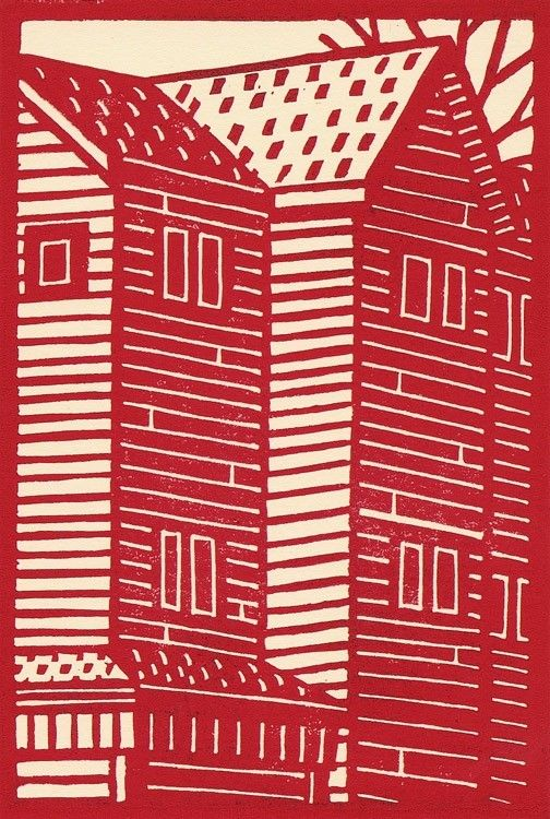 'Red House' by Canadian artist Eric Cator. Linocut, edition of 10, 5 x 7 in. via catoart on Etsy