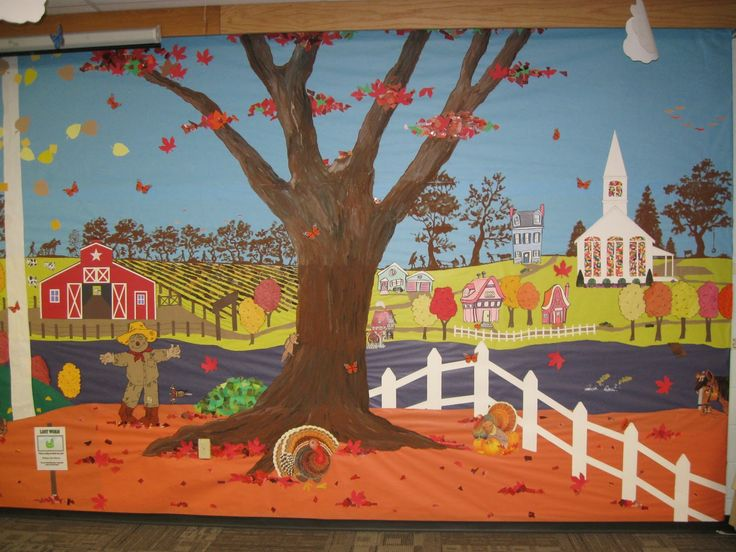church bulletin board ideas for fall | painted the tree with tempera paint, and used little pieces of ...