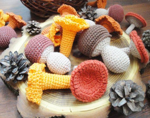 Crochet Mushroom set 15pcs Montessori toys Play by Crochetpumpkin
