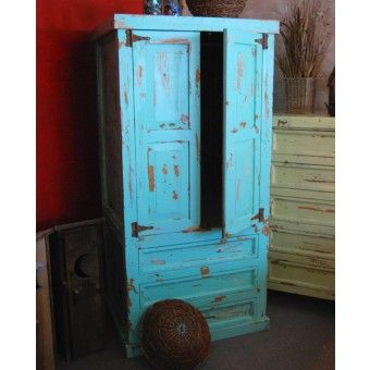Back Country Weathered Finish Wardrobe Armoire in Turquoise | Rustic bedroom furniture | Cabin Decor