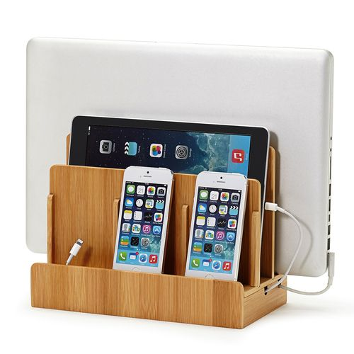 Keep phones, laptops, tablets and other devices charged and organized with this stylish 100% bamboo charging stand.