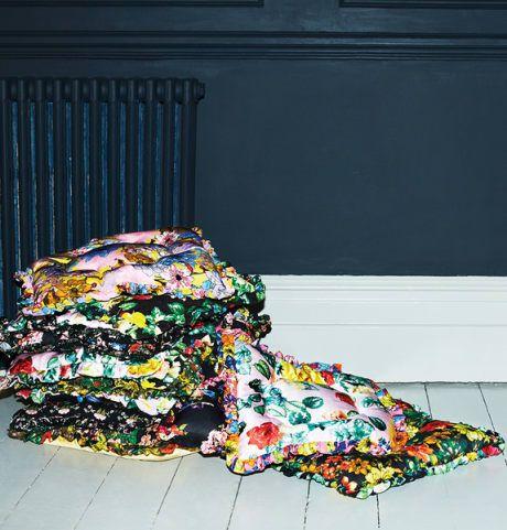 Trouva: Preen Home Purple Flower Bomb Cushion. Click through to shop.