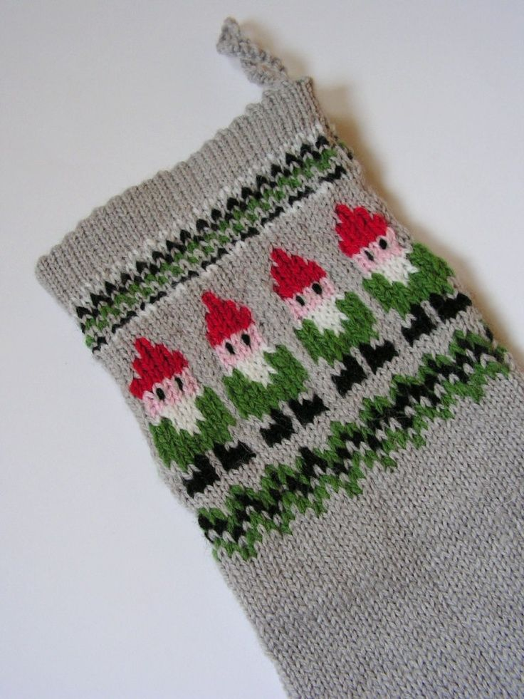 knit christmas stocking | Hand knitted Christmas Stocking Grey with Gnomes MADE TO ... | Knitti ...