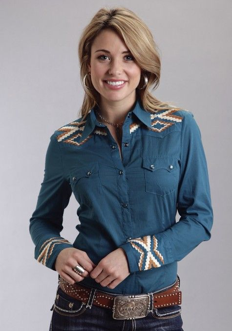 ❤ Cowgirls Heaven Fashions Stetson® Women's Teal Embroidered Yoke Long Sleeve Snap Western Shirt