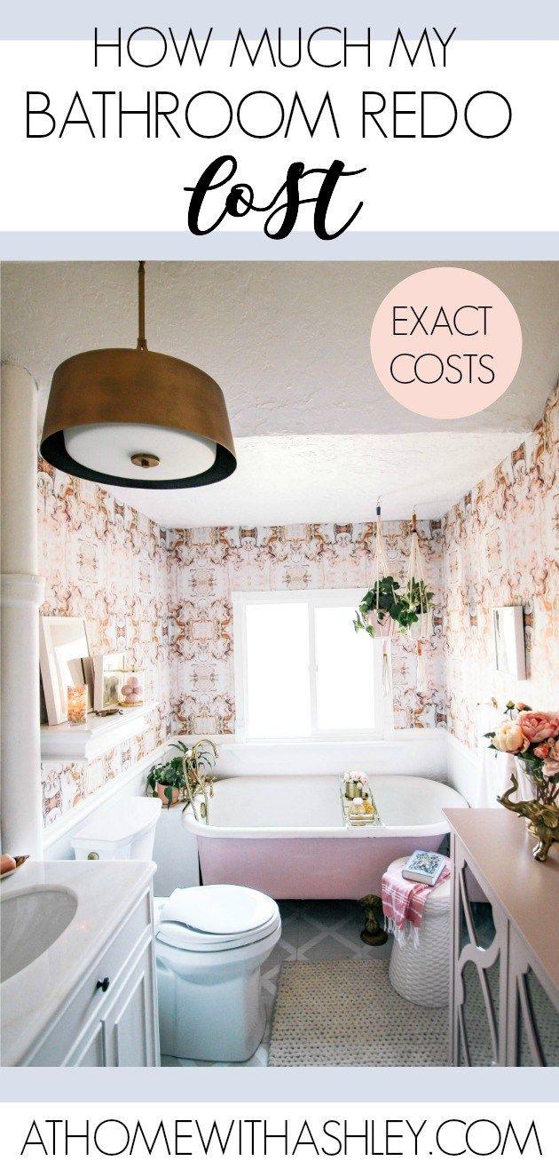 How Much My Bathroom Redo Cost Diy Bathroom Decor Pink Marble Wallpaper Best Bathroom Colors