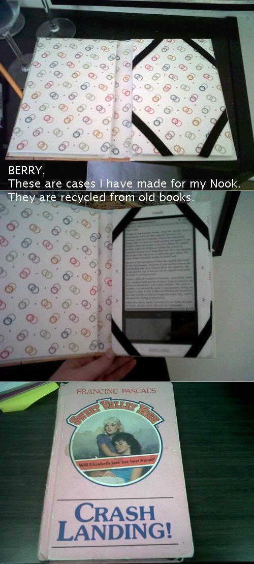 Hardcover book upcycled into an e-reader case.