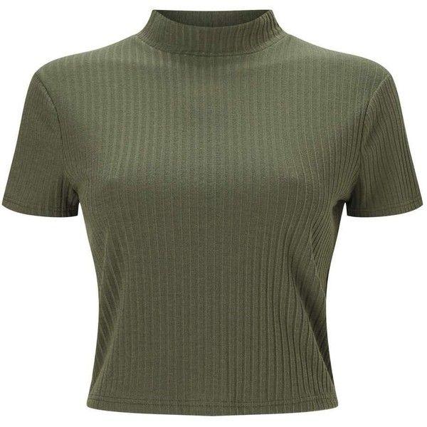 Miss selfridge petite khaki rib t shirt 125 sek liked on for Petite white tee shirt