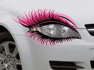 STICKER Pair Novelty Car Eye Lashes Eyelashes Headlight Pink Mascara Eyebrow