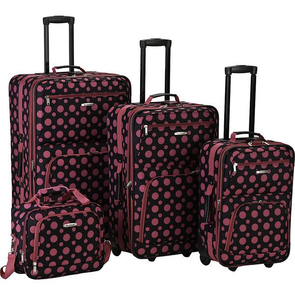Rockland Luggage 4 Piece Expandable Luggage Set ($94) ❤ liked on Polyvore featuring bags, luggage, luggage sets and pink
