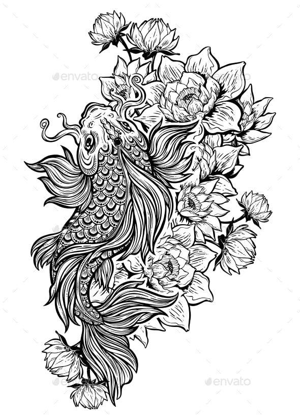 Koi Carp Fish With Lotus Flowers By Phoenixneon Graphicriver Koi Fish Tattoo Carp Tattoo Fish Drawings