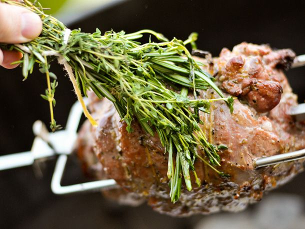 Grilling: Rotisserie Boneless Leg of Lamb with Lemon, Rosemary, & Garlic