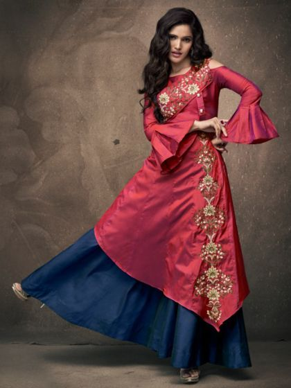 947e4c3b31 Magenta And Midnight Blue Taffeta Silk Embroidered Party Lehenga in ...