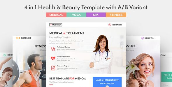 4 in 1 Health & Beauty Landing page Template. 4 layouts with A/B Variants. Landing page for Medical / Clinic, Spa & Wellness, Yoga / Meditation, Fitness / Gym   Mediclick is a 4 in 1 Health & Beaut...