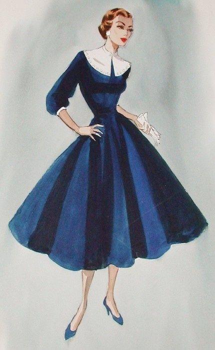 vintage fashion sketches | Vintage Fashion / Edith Head Sketch for Paramount Studios 1950s