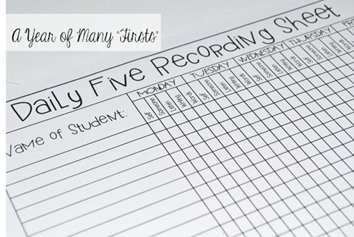 Reading record sheet the daily five (free classroom resources!)