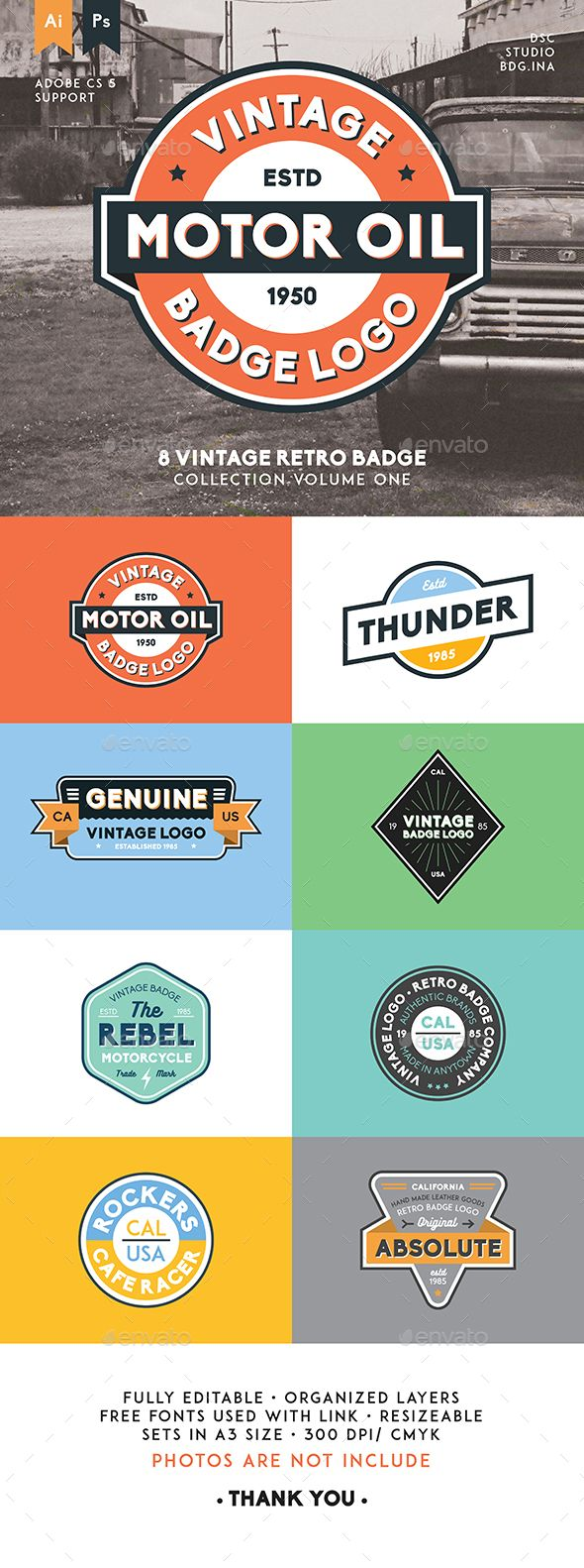 8 Vintage Retro Badge Template PSD, Vector AI. Download here: http://graphicriver.net/item/8-vintage-retro-badge/15829348?ref=ksioks