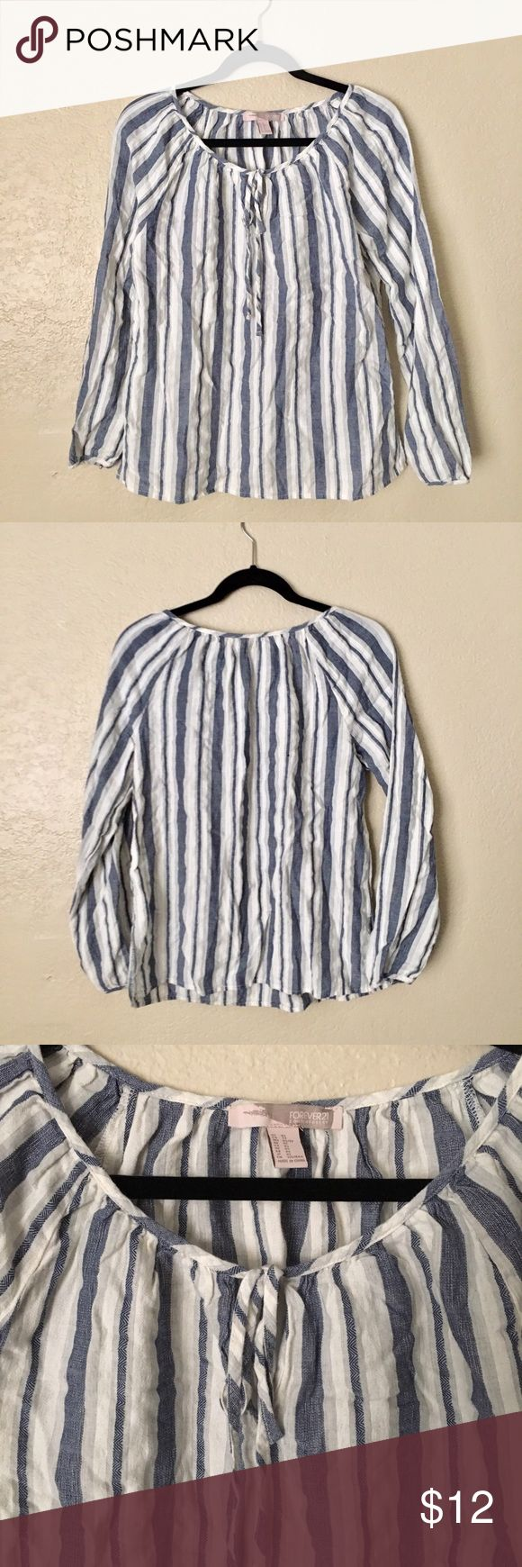 NEW Forever21 blue White Peasant Blouse New Blouse with tie key hole neck. Button hem sleeve. Forever 21 Tops Tees - Long Sleeve