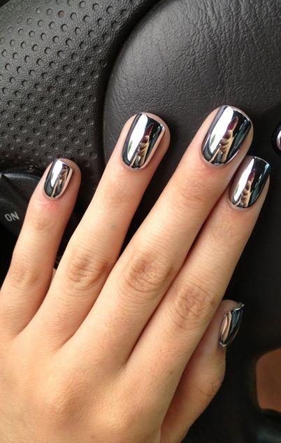 High shine silver metallic dark grey nails