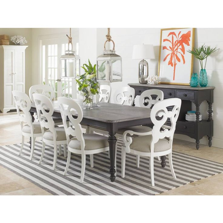 Stanley Coastal Living Retreat Dining Room Set With Rectangular Leg Table And Wayfarer Side Arm Chairs In Gloucester Grey By Rooms Outlet
