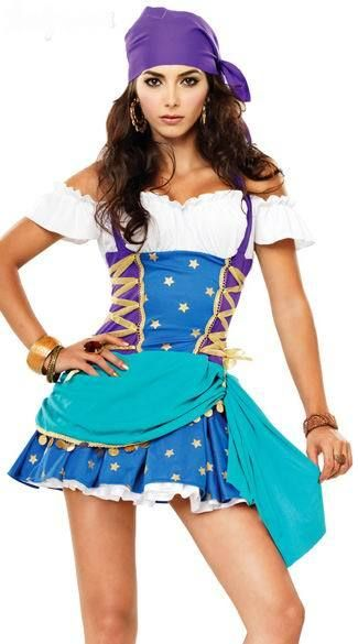 Sexy Gypsy Halloween costume is enchanting and sexy women's gypsy pricess fancy dress costume,including halter dress and matching head scart. If you wear the sexy gypsy halloween costume,I believe you have a magical night,this costume have purp...
