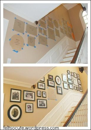 Genius! Cut out craft paper and use painters tape before putting up the photos. I am doing this for my wall! Photo Collage Ideas