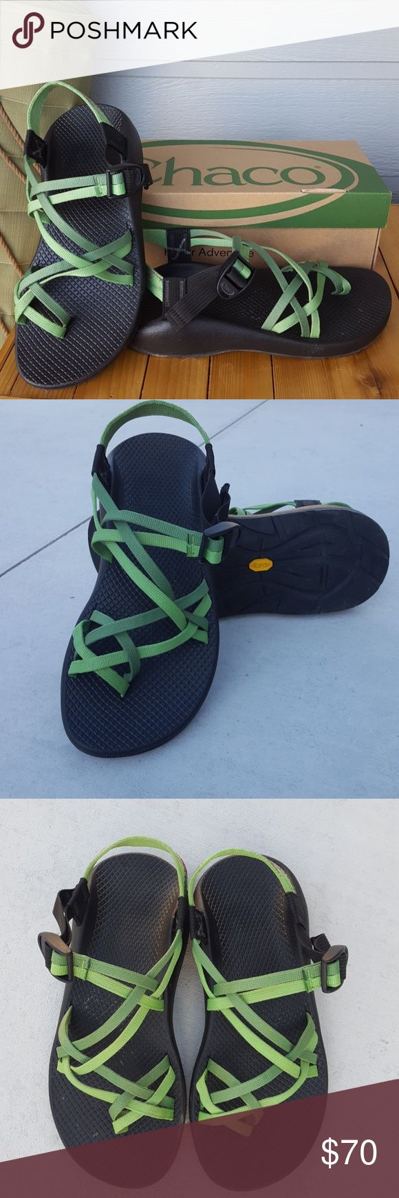 Women's Chaco Sandals Z2 Green two tone double strap women's Chaco Sandals Z2 Size 9 Box included Like new condition, only worn 3 times.  Super cute and comfortable!  Chacos last forever!  Retails for $110 Chaco Shoes Sandals