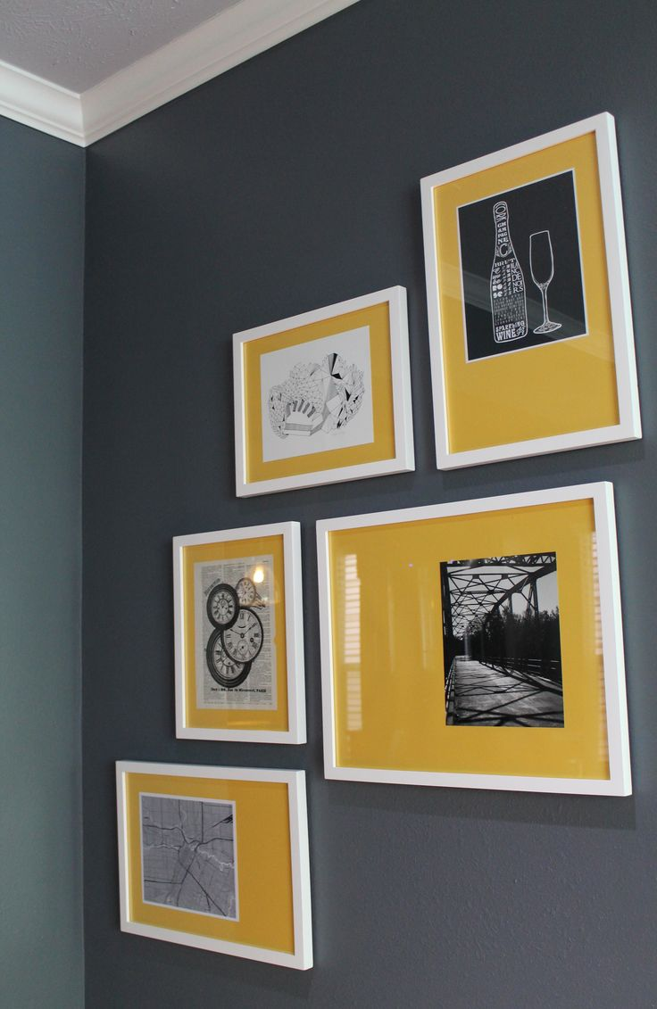 Gray Wall, Yellow and White Art Modern Interior Design #s2d   S Squared Design   Houston