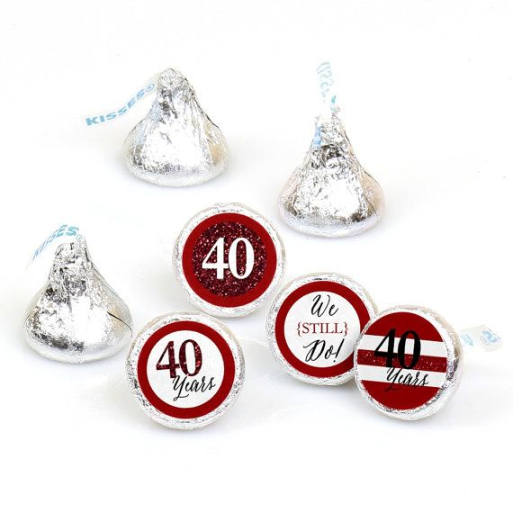 We Still Do - 40th Anniversary Round Stickers are an easy way to add your party theme to all areas of the event. They perfectly coordinate with