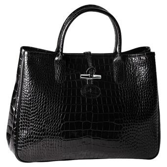 Longchamps Roseau Noir croco