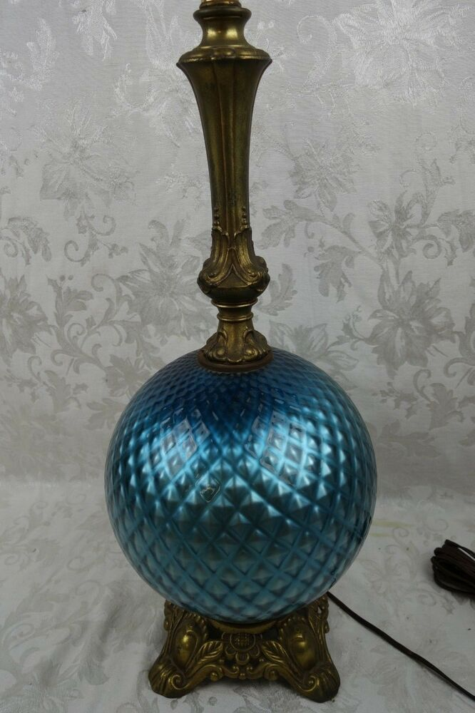 Vintage Table Lamp Amber Yellow Glass Globe Antique Brass Lighting Vintage Table Lamp Lamp Vintage Lamps