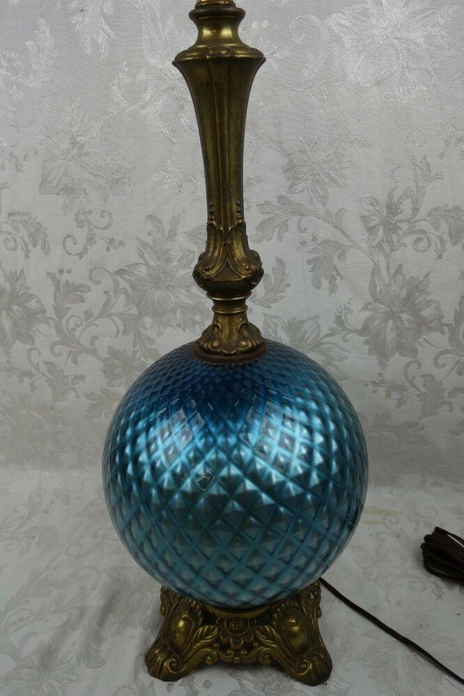 Vintage Antique Art Blue Satin Glass Globe Table Lamp Glass Globe Lamp Glass Table Lamp