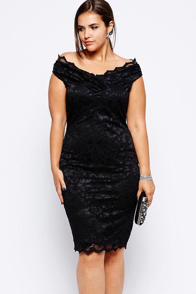 2015 Design Fat Women Elegant Black Lace Dress Knee Length Ladies Plus Size Formal Evening Party Dress Large Size Clothing E6986   OK Fashion