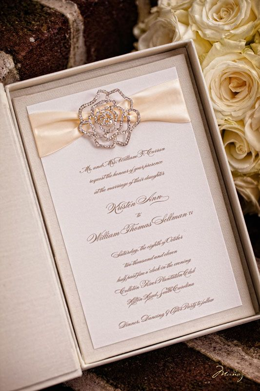 Gorgeous Wedding Invite with Ribbon and a Crystal Pendant.