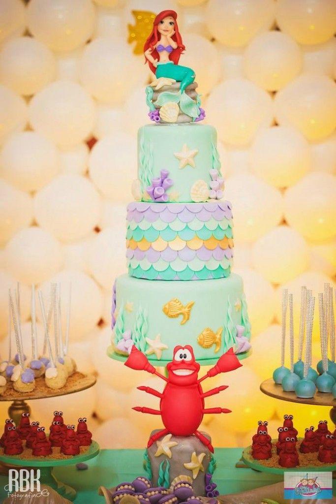 Bolo decorado da festa da Ariel, a pequena sereia