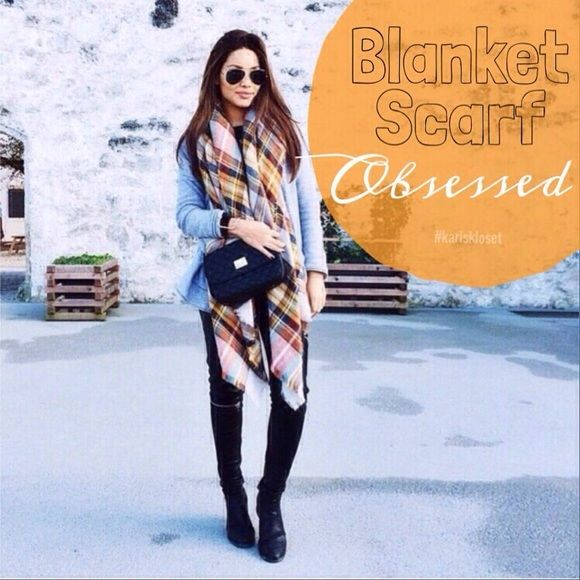Orange Plaid blanket scarf Fall So gals, it looks like you cleaned me right out of my red and camel scarves! In only a few days, my cozy bundles were SOLD! Well the trendy style you loved is not only back again, but in a warm fall palette for the LOW price you'd get in-store! Crowd favorite plaid design will keep you warm in this chilly weather❄️get ready❄️get yours! Brand new in plastic. No brand or tags Accessories Scarves & Wraps