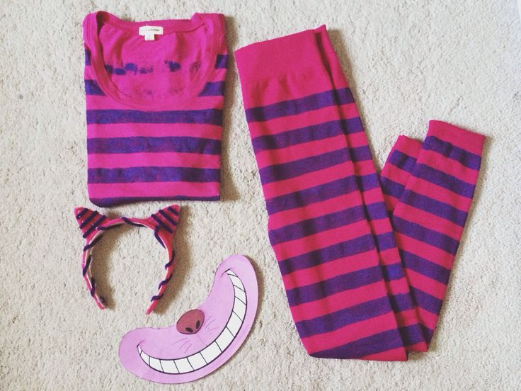 DIY Cheshire Cat from Alice in Wonderland (Disney cartoon version). Bought fuschia long sleeves & leggings, painted w/ purple fabric paint (painters tape used for precision). Recycled headband, covered with pink and purple pipe cleaners. Print out of Cheshire's smile, glued on to a chopstick to hold.