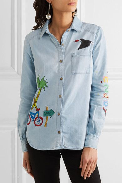 Mira Mikati - Ice Cream Van Painted Denim Shirt - Light denim - FR36