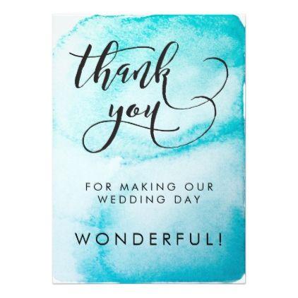 Aqua Watercolor Background Wedding Thank You Card - wedding invitations diy cyo special idea personalize card