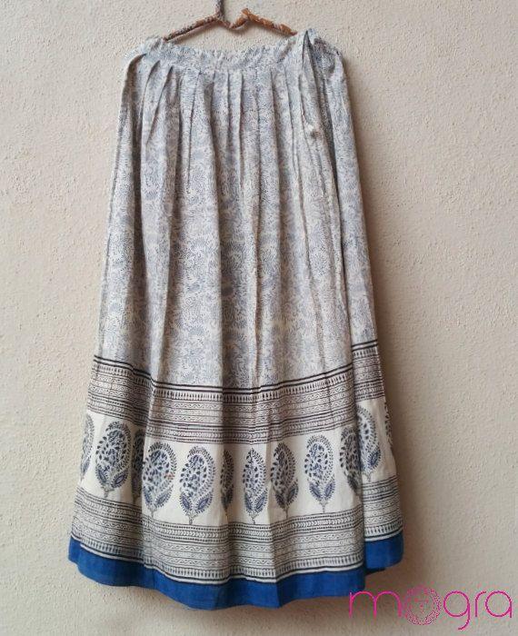 Block Printed Organic Cotton Sari Skirt by MograDesigns on Etsy, $45.00