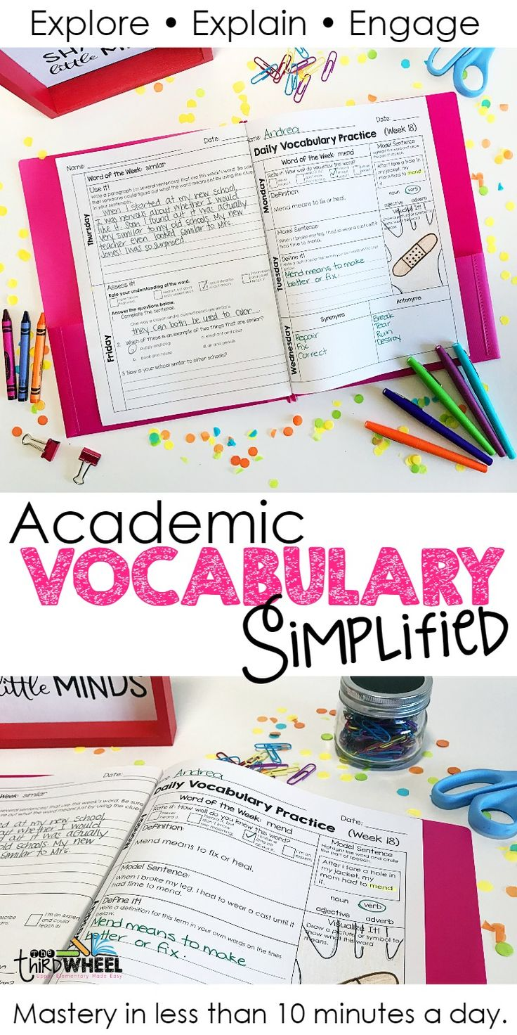 Teaching academic vocabulary has never been easier with these daily activities designed to build mastery of common academic language. Includes weekly practice, word wall cards and assessments. Sets available for 2nd, 3rd, 4th, 5th, 6th, 7th, and 8th grades (middle school).