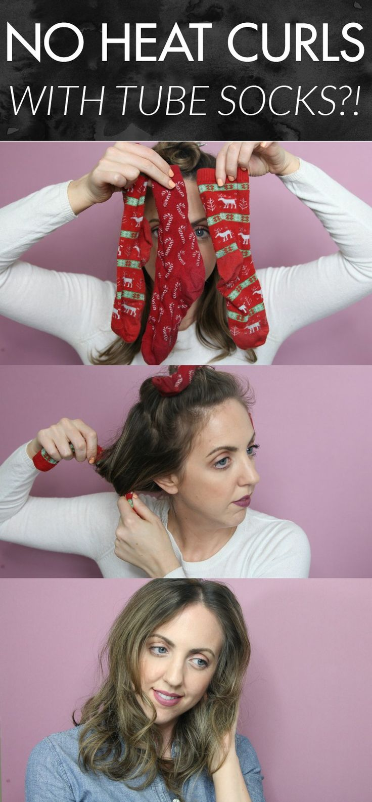 Genius and easy way to get loose, voluminous curls! No heat curls with tube socks! This worked in only 5 hours for me!