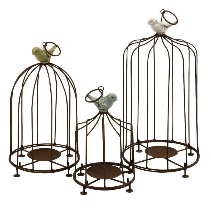 3 Piece Birdcage Candleholder Set