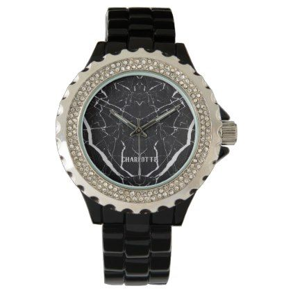 Beautiful black marble Personalized Name Wrist Watch - monogram gifts unique design style monogrammed diy cyo customize