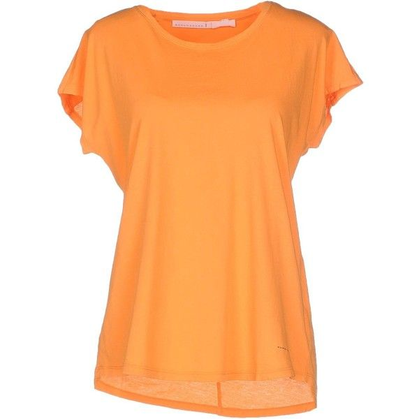 Schumacher T-shirt ($57) ❤ liked on Polyvore featuring tops, t-shirts, orange, orange top, schumacher, short sleeve tee, beige top and logo tee