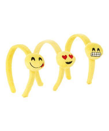 $6.99 marked down from $18! Yellow Heart Eyes Emoji Headband Set #emoji #zulilyfinds