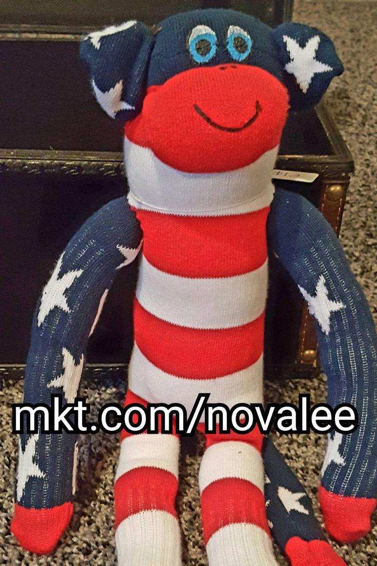 18 inch sock monkey, American flag, sock animal, patriotic stuffed animals, stuffed animal, sock animal, blue, white, red, stripes, stars by NovaleesBoutiqueArt on Etsy